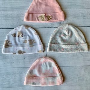 NWOT Baby Girl Newborn Winter Hats - Set of 4